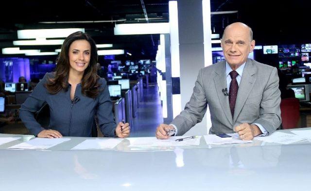 Os apresentadores Paloma Tocci e Ricardo Boechat