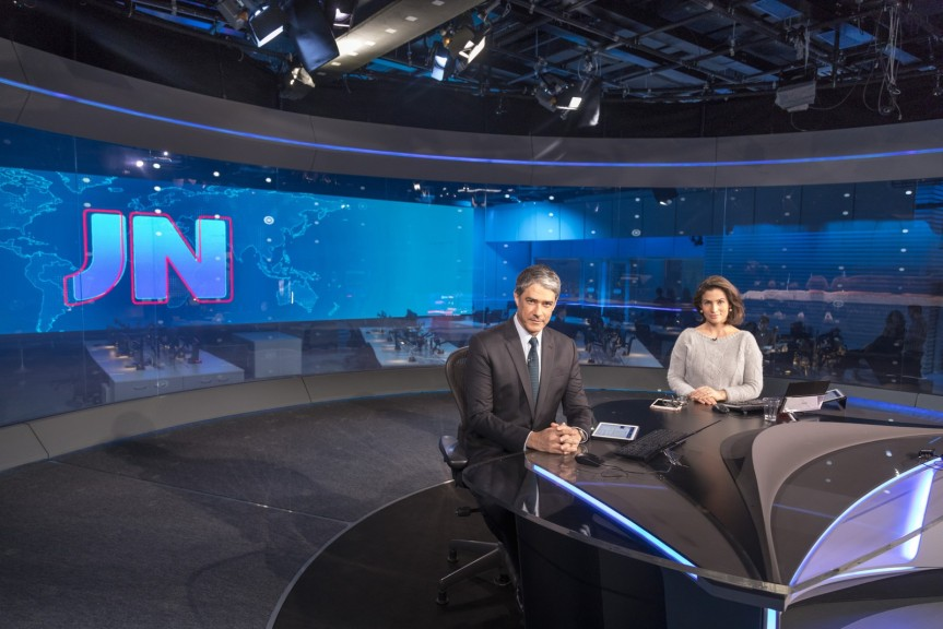 William Bonner e Renata Vasconcellos no novo estúdio do JN inaugurado nesta segunda-feira (19) (Foto: Globo/Sergio Zalis)